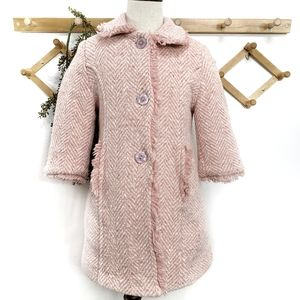 Made In Italy Wool Herringbone Girls Coat Size 3 T